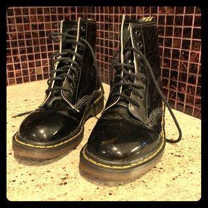 Dr. Marten lace up boots, black patent leather